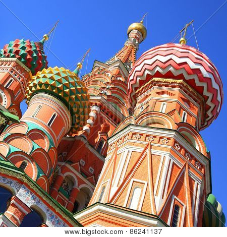 Domes of St. Basil's cathedral on Red Square in Moscow, Russia
