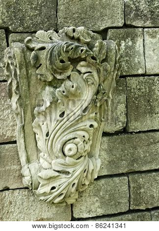 Old weathered Stone Carving on a old wall