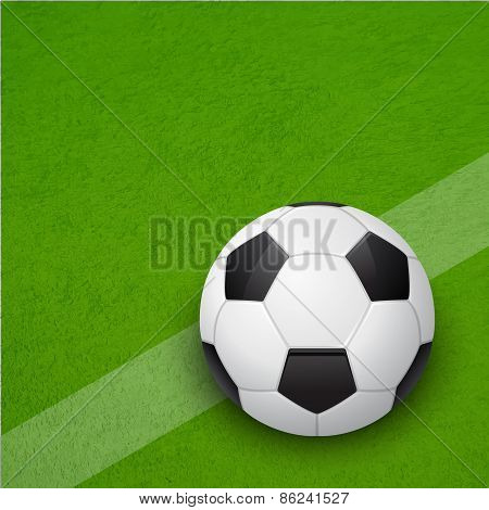 Glossy Soccer Ball On The Field. Vector Background.