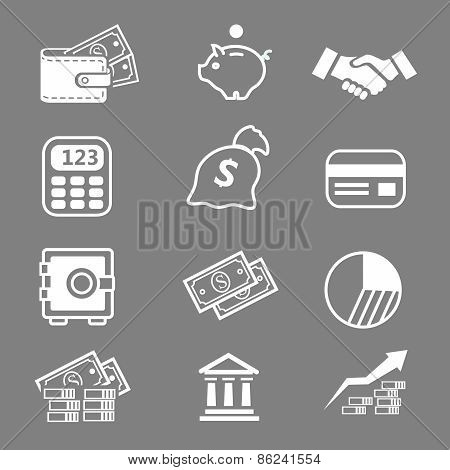 Trendy business and economics white icons  set Vector illustration
