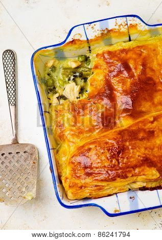 Puff Pastry Pie With Chicken And Vegetables