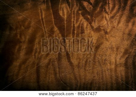 Very old antique wood surface with beautiful figured grain. Surface has scratches and dents due to past usage. Intentionally shot in low key.