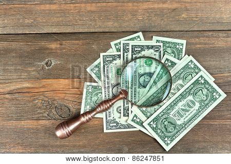 Usa One Dollar Bills Under Magnifying Glass Closeup