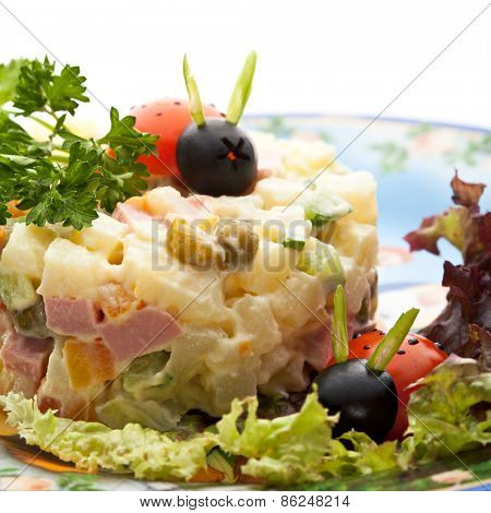 Kids Vegetables Salad with Beef and Herbs