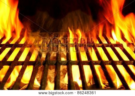 Barbecue Flaming Grill Close-up Background