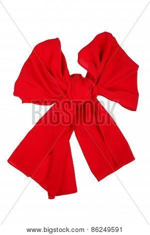 Silk Scarf. Red Silk Scarf Folded Like Bowknot