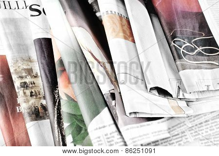 Old newspapers lying in disorder