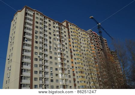 KIEV, UKRAINE -FEB 17, 2015: Typical modern residential area. A  block of apartments under construction.February 17, 2015 Kiev, Ukraine