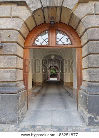 vintage entrance and secret yard Dresden, Germany