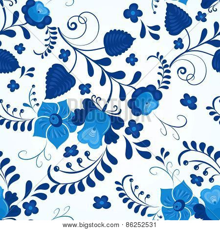 Blue and white gzhel style seamless vector pattern.