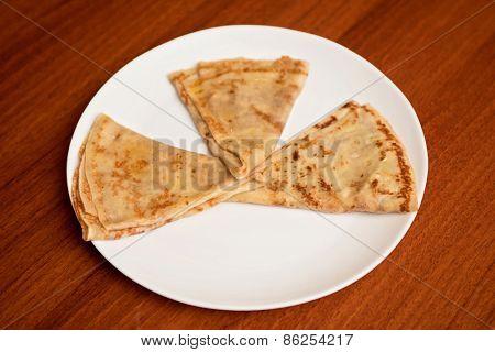 tasty pancakes closeup at plate