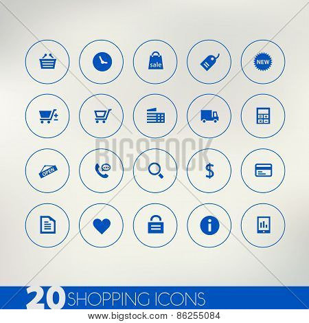 Shopping blue icons on light background