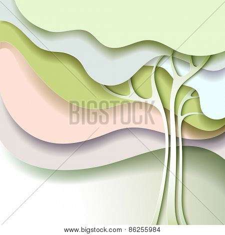 Abstract spring tree with white flowers