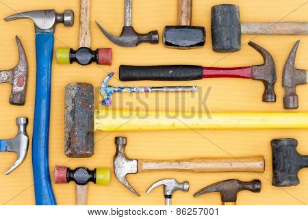 Display Of A Diversity Of Hammers In A Tool Kit
