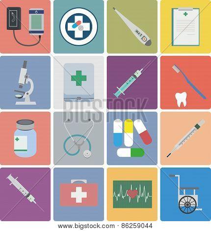 Flat design icon set - Medical