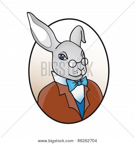 smart rabbit in glasses with bow tie illustration