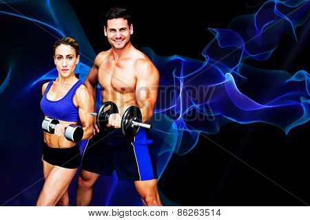 Bodybuilding couple against blue waves with spark