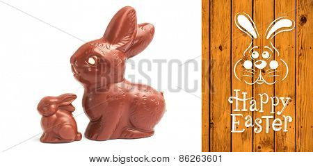 easter bunny with greeting against wooden planks