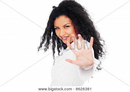 Smiley Woman Showing Negation
