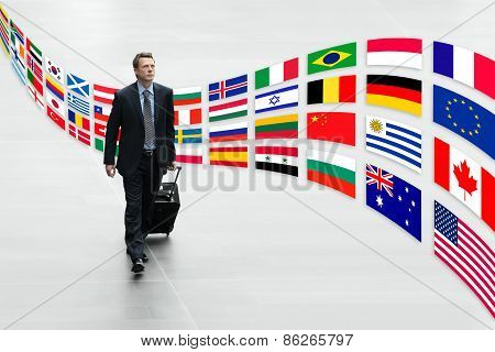 Businessman Traveling With Trolley International Flags Trip Concept