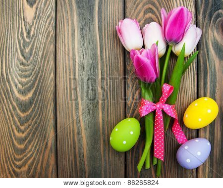 Pink Tulips And Easter Eggs