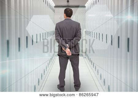 Rear view of classy businessman posing against data center