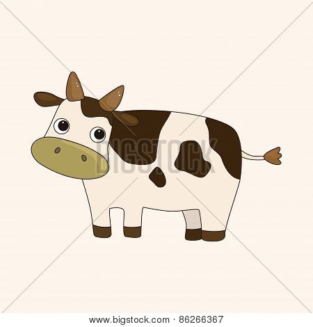 Animal Cow Cartoon Theme Elements