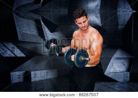 Bodybuilder lifting dumbbell against dark room