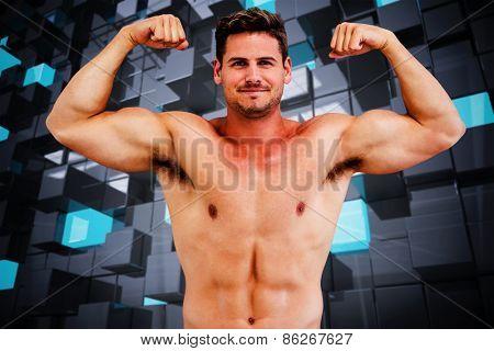 Bodybuilder against blue and black tile design
