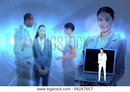 Thinking businesswoman against blue bar chart graphic with light