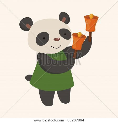 Animal Panda Playing Instrument Cartoon Theme Elements
