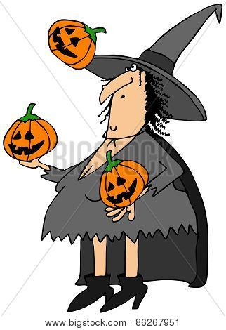 Witch juggling pumpkins