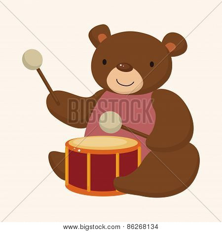 Animal Bear Playing Instrument Cartoon Theme Elements