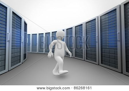 White character walking against server towers