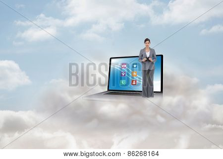 Young businesswoman with binoculars against cloudy sky
