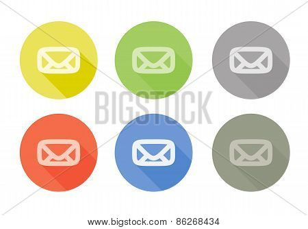 Collection of mail letter symbol rounded icon with shadow different colors