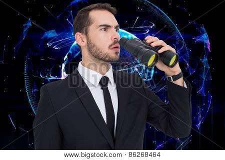 Surprised businessman standing and holding binoculars against global technology background in purple