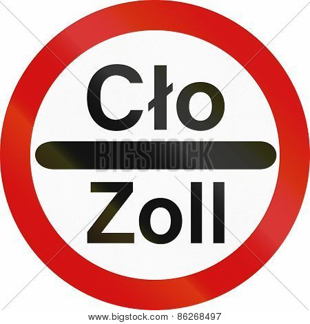 Stop - Customs Control (multilingual) In Poland