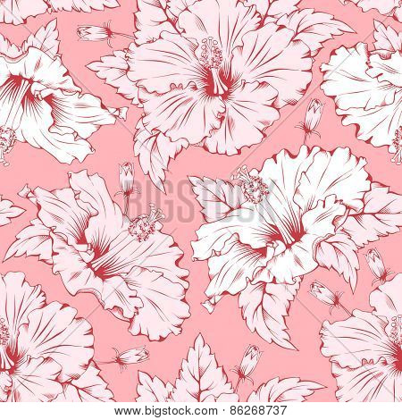 Seamless pink pattern with hand drawn exotic tropical flower - hibiscus. Beautiful element for different designs.