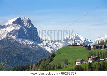 Landscape with   typical italian village in Dolomites,  Italy.