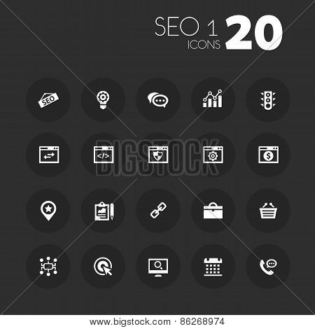 Thin SEO 1 icons on dark gray