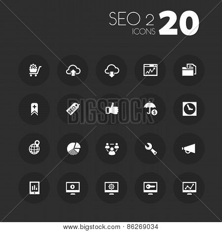 Thin SEO 2 icons on dark gray