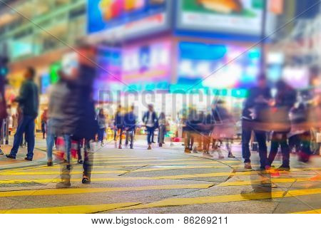 Blurred Image Of Night City Street. Hong Kong.