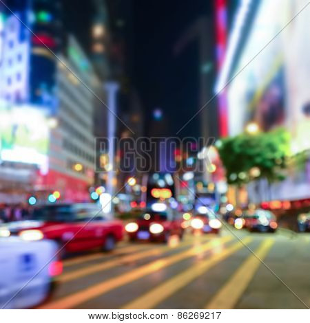 Night Cityscape Blurred Backgroun. Hong Kong