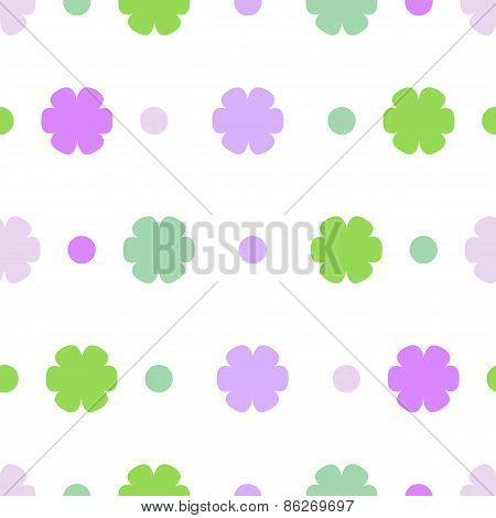 Seamless Pattern Or Texture With Colorful Polka Dots And Flowers