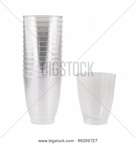 Transparent disposable plastic cups isolated