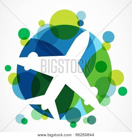 Flight Airplane Silhouette And Colorful Circle Planet Background. Travel Around The World Concept. A