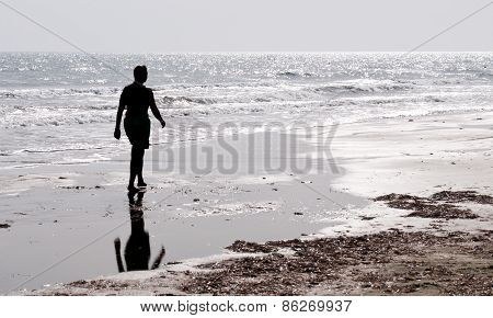 Man Walking Alone  In The Beach