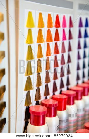 Hair dyed color shades palette in hairdressing salon