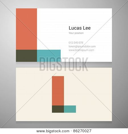 Vintage Letter L Icon Business Card Template